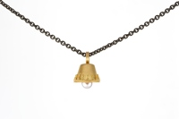 Pura Ferreiro Necklace with Granulated 22K Gold Bell and Pearl