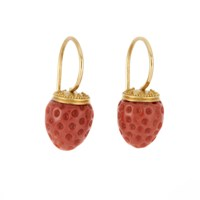 Pura Ferreiro Strawberry Coral Earrings with Granulated 22K Gold