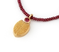 Pura Ferreiro Scarab Pendant in 22K Gold with Ruby
