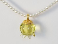 Pura Ferreiro Citrine with Pearl Pendant on Granulated 22K Gold