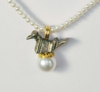 Pura Ferreiro Antique Roman Bird Pendant with Pearl on 22K Gold