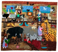 Noah's Ark Inside Medium 3D Arpillera Art Quilt