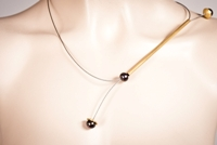 Pearlstring Necklace, Gold Round Bar with Dark Pearls-SM