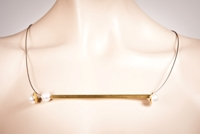 Pearlstring Necklace, Gold Square Bar with White Pearls-M
