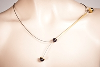 Pearlstring Necklace, Gold Square Bar with Dark Pearls-SM