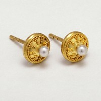 Pura Ferreiro Pearl Stud Earrings in Granulated 22K Gold