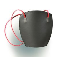 Olbrish Lotus City Handbag - Medium Black with Red Straps