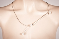 Pearlstring Necklace, Silver Round Bar with White Pearls-M