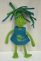 Zottel Troll Doll - Green with Blue Hair