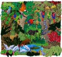 Rain Forest Medium 3D Arpillera Art Quilt
