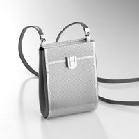 Drop Bag in Etched Grey Finish SS and Grey Leather