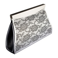 Lace Clutch Bag in Etched SS and Black Leather