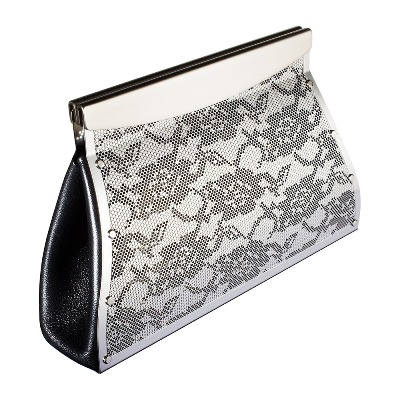 The stunning lace clutch by Wendy Stevens is a special piece made of etched stainless steel finish with black leather gussets and a magnetic closure. Also avail...