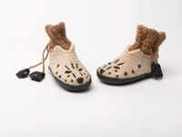 Booties - Snow Leopard Face with Sheep and Camel Wool
